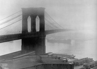 Feininger Brooklyn bridge fog