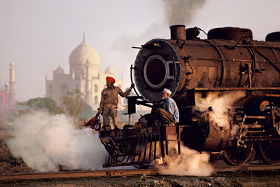 Taj and Train, Agra, Uttar Pradesh, India, 1983
