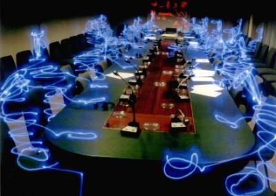 ALEXANDRE DURAND, Bonhommes Bleus en réunion, 2002