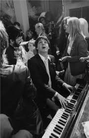 "Terry O'Neill, McCartney piano with Linda, Ringo and guests - wedding of Ringo Star and Barbara Bach - singing ""All you need is love"", Galerie Stephen Hoffman - Munich"