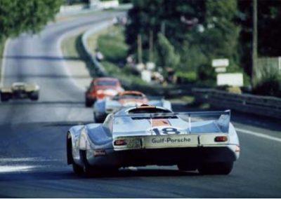 Werner Eisele, Gulf Porsche, 24 Stunden von Le Mans 1971, Porsche 917 LH des Porsche-Gulf-Teams Nr. 18 = Pedro Rodrigue / Jackie Oliver Galerie Stephen Hoffman, München
