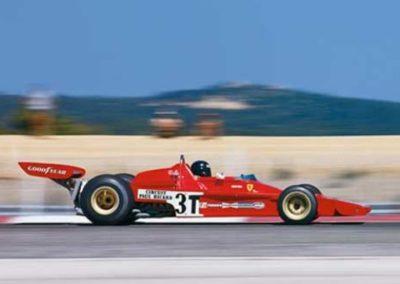 Werner Eisele, Formel-1-Grand-Prix von Frankreich 1973, Ciurcuit Paul Ricard - Jacky Ickx im Ferrari 312 B2 - Galerie Stephen Hoffman, München Jacky Ickx ist eine Mischung aus Kuenheit und Kalkuel-ENZO FERRARI