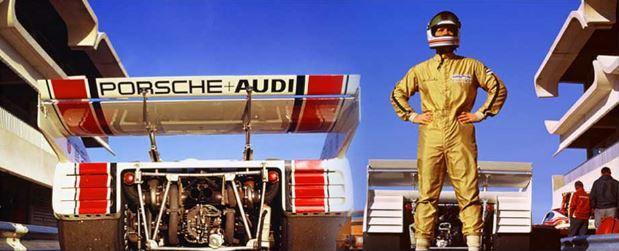 """Werner Eisele, """"Zwei mal 1000 PS"""", Can-Am-Test, Paul Ricard 1972 - Mark Donohue mit dem Porsche 917/10 Galerie Stephen Hoffman, München"""